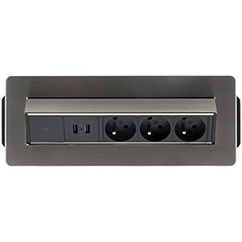 Otio - Bloc Prise Encastrable Pivotant 3x 16A avec 2x USB