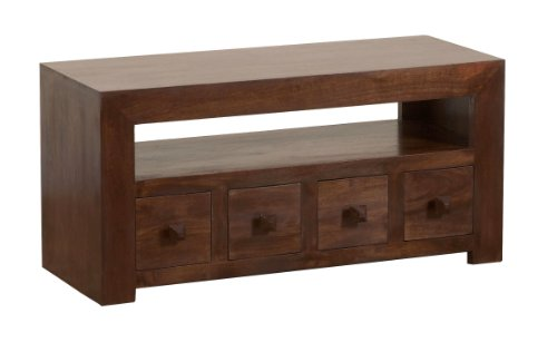 Homescapes Dakota Solid Mango Wood TV DVD Media Unit with Drawers Dark  Hardwood Living Room Furniture (No Veneer)