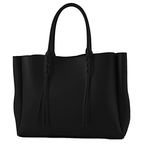 CTM Satchel Bag grande femme avec poignées, 43x28x15cm, en cuir véritable 100% Made in Italy