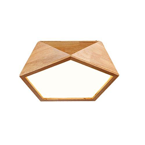 Plafonnier Peaceip en Bois - Nordic Simple Solid Wood LED Light pour Couloir, Chambre à Coucher, Cuisine, Salon (lumière Blanche) (Taille : 52cm)