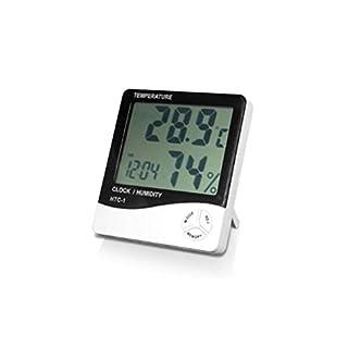 ArturoLudwig LCD digitales Thermometer für Temperaturen und Luftfeuchtigkeit, mit Uhr und Wecker by