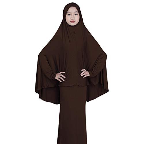 GJKK Muslimische Roben Arabische Kleidung Islamische Kleidung Arabische Nahöstliche Teenager-Mädchen Einfarbig Eeinfaches Kleid zweiteiliger Anzug Elegante Muslimischen Kaftan Kleid (Anzug The Rudolph)