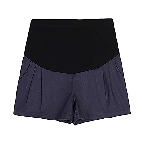 WNuanjun, Beiläufige lose Normallack-Mutterschaftsshorts für die Schwangere Sport-Hosen-Befestigung Plus Größen-Kleidungs-elastische hohe Taillen-beiläufige Hosen Gravida (Color : Blue, Size : M) - Taille Befestigung