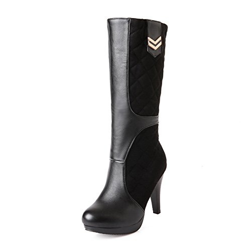 AllhqFashion Damen Rund Zehe Hoher Absatz Hoch-Spitze Eingelegt Stiefel mit Metallisch, Rot, 40
