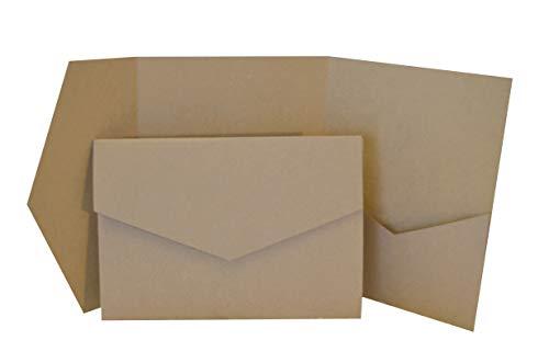 Papermane Pocketfold Karte B6/C6 - Einladung Hochzeit - Blanko, Kraftpapier Naturkarton (Kraft-braun, 50)