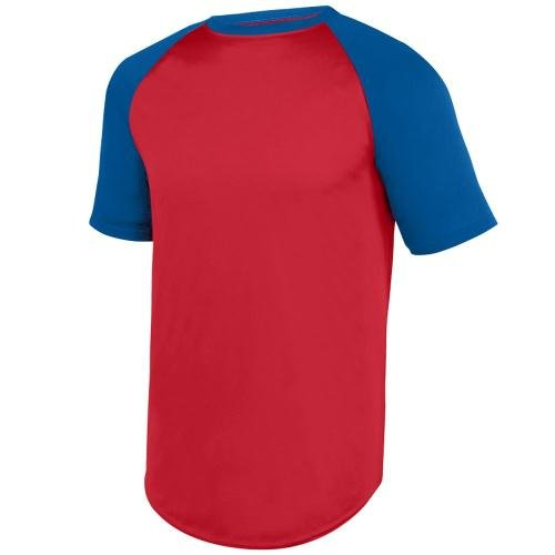 Augusta Sportswear Boys Wicking Short Sleeve Baseball Jersey L Red/Royal (T-shirt Augusta Jersey)