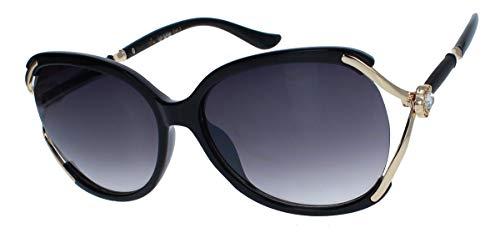 amashades Vintage Classics Retro Sonnenbrille Damen 70er Jahre Butterfly Designer Modell Glitzerstein BFS14 (Schwarz)