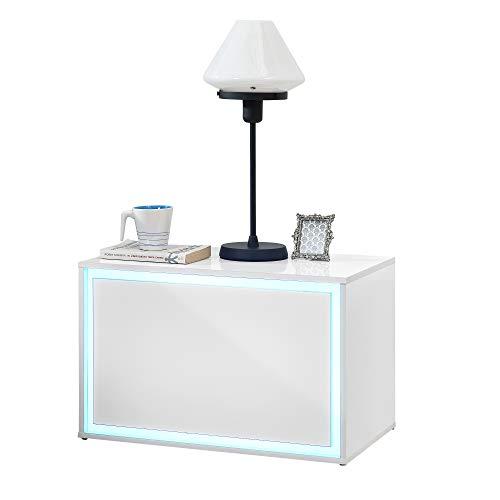 [en.casa] LED Nachttisch 59 x 36 x 38cm Nachtschrank Nachtkommode Kommode Ablage RGB Weiß