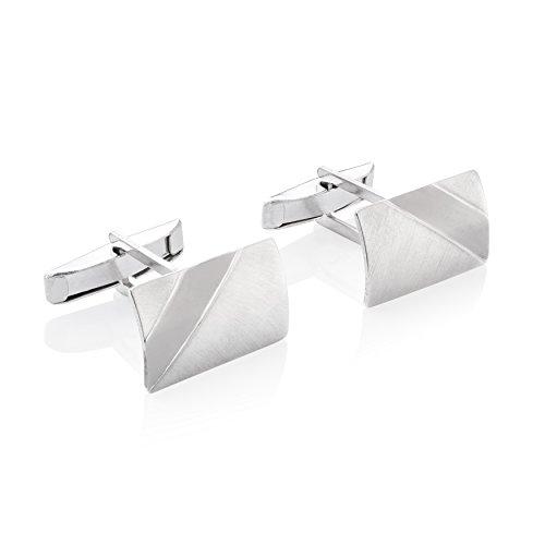 STERLL Herren Silber-Manschettenknöpfe Silber gebürstet mit oxidiertem Streifen Schmucketui besondere Geschenke für Männer