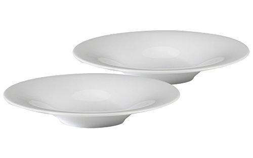 Alessi officielle Ku Assiette Creuse 23 (cm) Blanc Bols à soupe en porcelaine de haute qualité Accessoire de cuisine – Lot de 2