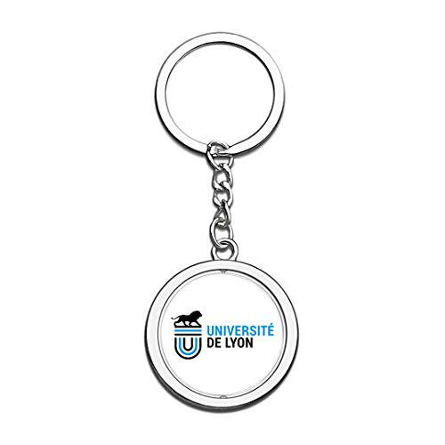 rsität Lyon UdL Abzeichen Schlüsselbund 3D Kristall Kreative Spinning Runde Edelstahl Schlüsselanhänger Souvenir Schlüsselanhänger Ring ()