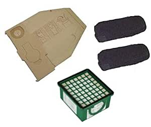 Kit accessoires pour Vorwerk Kobold 130, 131 - Inclus : 10 sacs aspirateur, 1 microfiltre hygiénique Hepa, 2 filtres à charbon anti-odeurs pour moteur, 10 bâtonnets parfumés