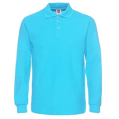 NeedBo Herren Langarm Casual Solid Golf Polo Shirt, Herren, blau, X-Large - Baumwolle Mock Neck Herren T-shirt