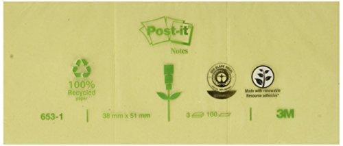 Post-it 6551GE 3 blocchetti da 100foglietti riciclati per annotazioni, dimensioni 127x 76mm, colore: giallo 51 x 38 mm