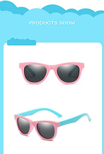 ZJWZ Persönlichkeit Sonnenbrille Mode polarisierte Sonnenbrille Kinder Cartoon Sonnenbrille niedlichen Polarisator,PowderBlue