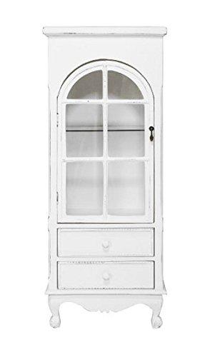 Vetrina bianca in legno stile vintage in stile vintage con due cassetti L'ARTE DI NACCHI 1494/B
