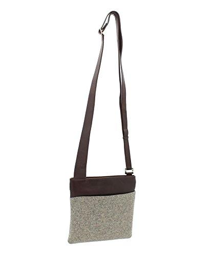 Pelle di Mala ABERTWEED collezione Leather & Tweed Croce Body Bag 752_40 prugna Spot: Spina di Pesce