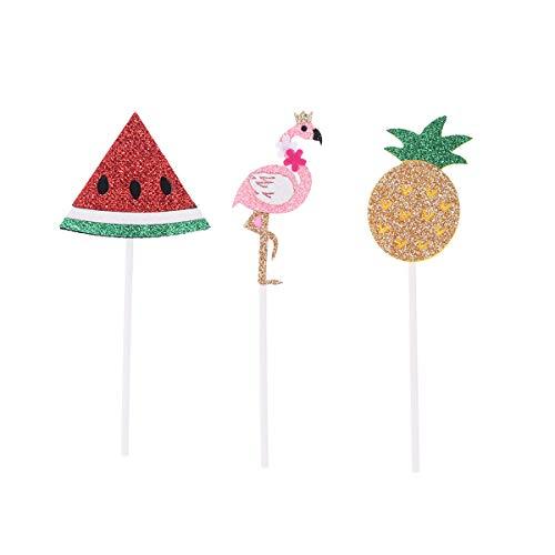 e Topper Picks Hawaii Party Glitter Cupcake Picks Geburtstag Baby Dusche Luau Sommer Party Kuchen Dekorationen 3 STÜCKE ()