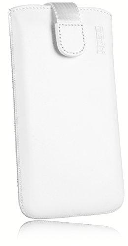 mumbi ECHT Ledertasche für Huawei Honor 5X Tasche Leder Etui weiss (Lasche mit Rückzugfunktion Ausziehhilfe)
