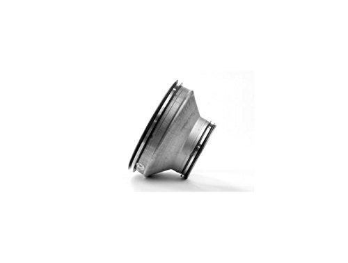 Riduzione di sezione in lamiera di acciaio zincata con guarnizione di tenuta. Raccordo tubo ventilazione e aspirazione. (Tubo partenza Ø 125, Tubo arrivo Ø 100)