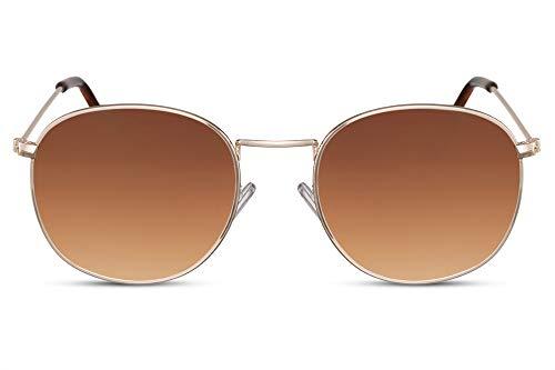 Cheapass Sonnenbrille Rund Gold Braun Getönt UV-400 Oval Hipster-Brille Festival Metall Herren Damen