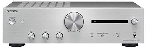 Onkyo A-9130 Integrierter Stereoverstärker (2X 60W Hochstromverstärkung, Wide Range Amplification Technology, gut lesbares Display) Silber -