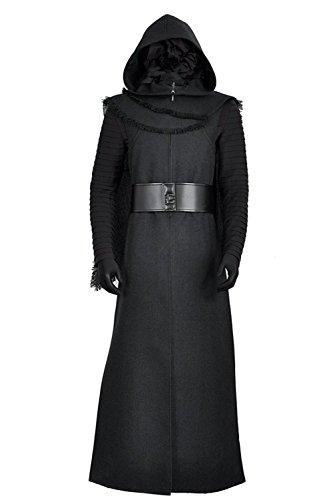 Cosplayfly Star Wars 7: Der Force weckt Kylo Ren Erwachsene Anzug Jacke Schwarz Fell Motiv Jedi Cosplay Kostüme für Halloween Party (Keine Maske), Collegejacke, ()