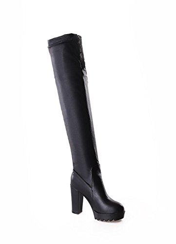 AllhqFashion Damen Blend-Materialien Rein Überknie Hohe Stiefel Hoher Absatz Stiefel, Schwarz, 38
