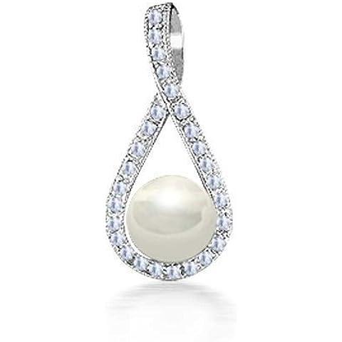 Bling Jewelry Shell bianco perla anello pendente della CZ pavimenta 925