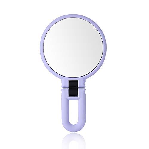 LILI-SM 2-seitiger Schminkspiegel Für Tischplatten, Eine Seite Mit 10 / 15X Vergrößerungsspiegel Mit 360 ° -Drehung, Modespiegel (Rosa, Lila, Weiß) (Color : Purple, Size : 24.5 * 13.6cm)