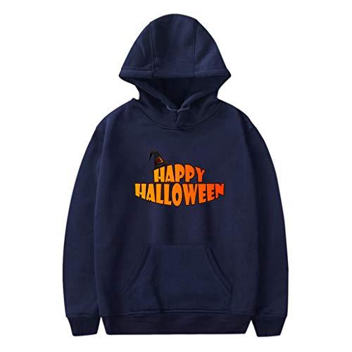 Xmiral Kapuzenpullover Herren Damen Happy Halloween Buchstabe Gedruckte Paare Sweatshirt mit Kapuze Hoodie Pullover Party Langarmshirt Kostüm(b Marineblau,3XL)