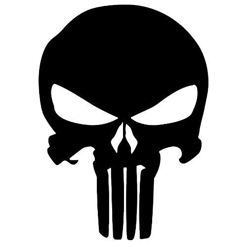 Punisher Aufkleber Auto Sticker Autosticker Autoaufkleber Decal War Zone Totenkopf Skull (10 x 14 cm, Schwarz)