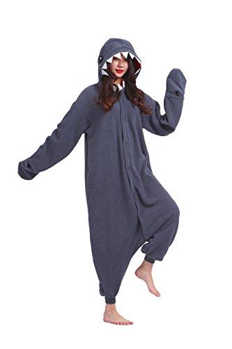 Magicmode Unisex Cosplay Tiere Strampelanzug Schlafanzug Halloween Kigurumi Kostüme Hoodie Nachtwäsche Kleid Hai M (Strampelanzug, Schlafanzug Tier)
