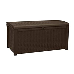 Keter Borneo Outdoor Plastic Storage Box Garden Furniture, Brown, 129.5 x 70 x 62.5 cm