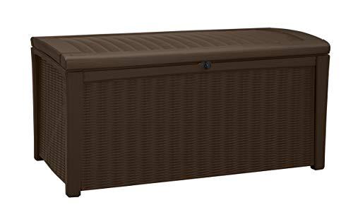 Keter Kissenbox Borneo, Braun, 400L aus hochwertigem Polypropylen Aufbewahrungsbox & Sitzbank in einem Maße: 129,5 cm x 70 cm x 62,5 cm  (BxTxH)