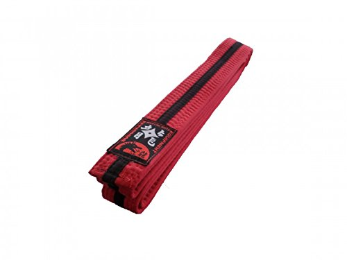 Karategürtel rot, schwarzer Mittelstreifen Judogürtel Taekwondogürtel