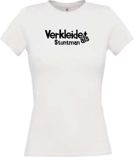 Lady-Shirt Verkleidet als Stuntman Karneval Fasching Kostüm Verkleidung, Farbe weiss, Größe (Stuntman Kostüm)