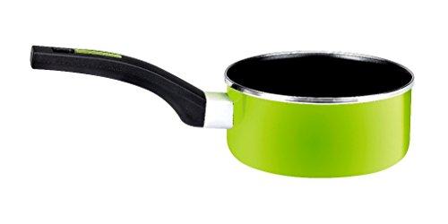Monix Lima - Casserole 16 cm en acier émaillé vert avec antiadhésif Teflon Classic.