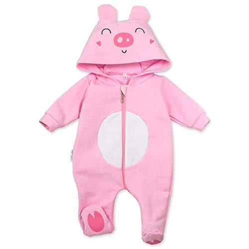 Baby Sweets Baby Tier Strampler Unisex rosa | Motiv: Schwein | Tierstrampler mit Kapuze für Neugeborene & Kleinkinder | Größe Newborn (56)...
