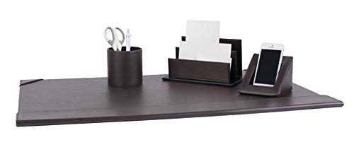 Pavo Schickes Büroset PU-Leder inklusive Schreibunterlagen, Briefstände, Telefonstände und Köcher, braun -