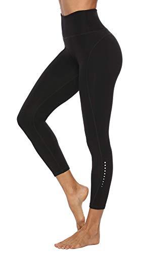 JOYSPELS Sporthose Yogahose Sport Leggins für Damen Yoga Leggings Laufhose Tights Damen High Waist Blickdickt mit Taschen Handytasche Schwarz S