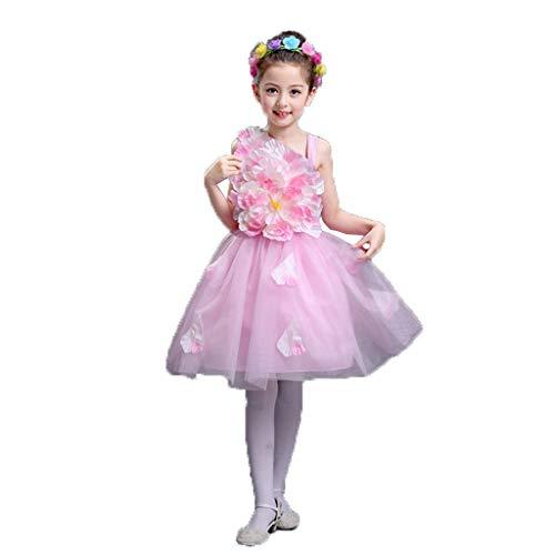 HUO FEI NIAO Kindertanzabnutzung Blütenblatt Tanz Rock Kostüm Gaze Pettiskirt Prinzessin Kleid (Color : Pink, Size : 140)