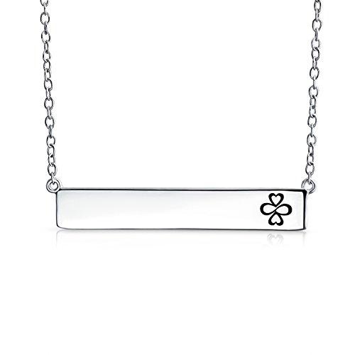 Bar-einheit (Ayllu Inspirational Symbol Liebe Glück Einheit Gravierbaren Seitwärts Bar Halskette Für Damen 925 Sterling Silber)