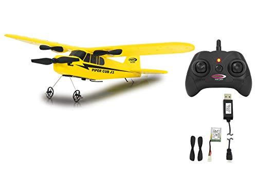 Piper J3-Cub Flugzeug 2CH Gyro 2,4G - RTF, Einsteigertauglich, Starke voll proportional Motoren, Lange Flugzeit durch Schnellwechsel-LiPo-Akku, Sehr Gute Selbstflugeigenschaften