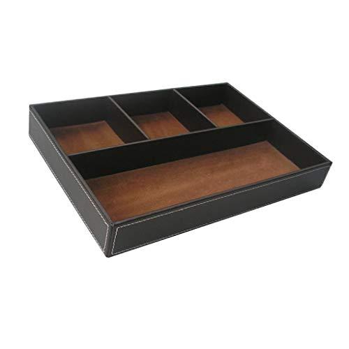 FLAMEER PU-Leder Aufbewahrungsbox Aufbewahrungsbehälter für Schreibwaren Lagerung - Kaffee -