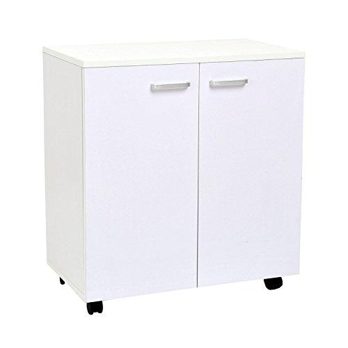 Outsunny homcom mobile porta tv in legno con ruote e 2 ante console cassettiera 60x35x65cm (bianco violaceo