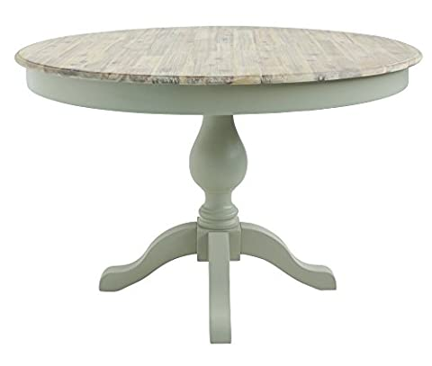 Florence large round pedestal table, 100% hardwood dining table with durable limed wooden top and 2 drawers, Available in 4 colours (sage green)
