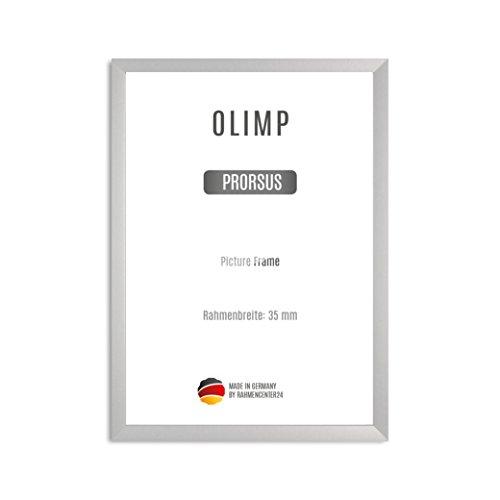 OLIMP PRORSUS 35 mm Bilderrahmen nach Maß für 22 x 11 cm Bilder, Farbe: Silber matt, Handgefertigter MDF Rahmen mit bruchfester Anti-Reflex Kunstglasscheibe und stabiler MDF Rückwand, Rahmen Breite: 35 mm, Außenmaß: 27,8 cm x 16,8 cm (11x11 Quadratische Bilderrahmen)