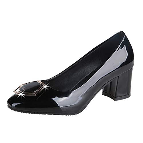 Damen Klassischer Pumps Basic Flandell Spitze Absatzschuhe Mittelhohem Blockabsatz, Celucke Elegante Schuhe Frühling Sommer Sandalen (Schwarz, EU40)