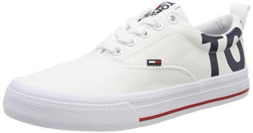 Hilfiger Denim Wmn Logo Tommy Jeans Sneaker, Scarpe da Ginnastica Basse Donna, Bianco (White 100), 37 EU